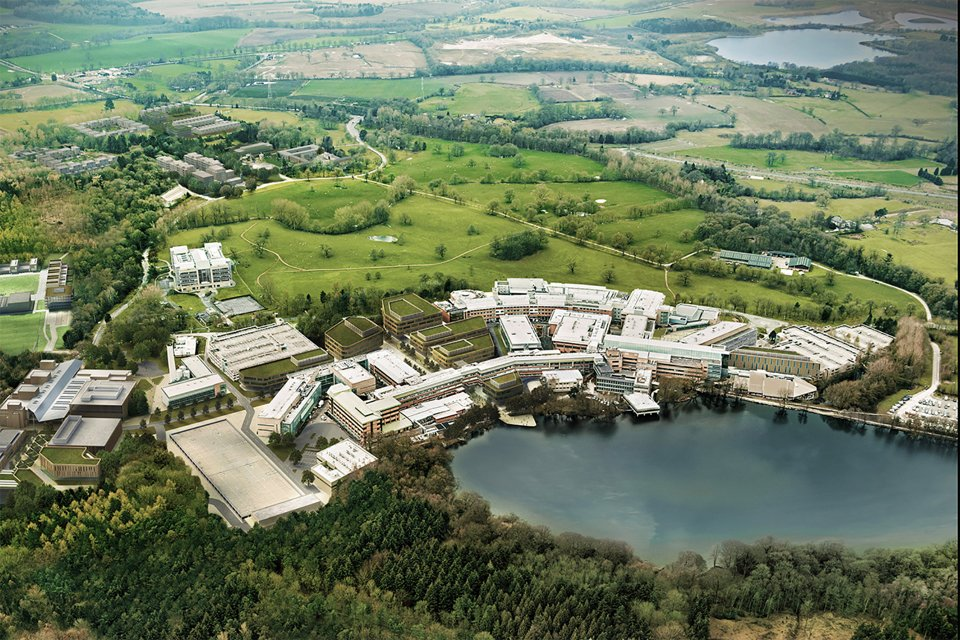 Arial view of the Alderley Park campus