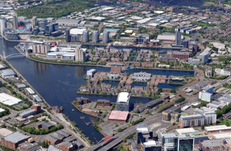 An aerial shot of Greater Manchester