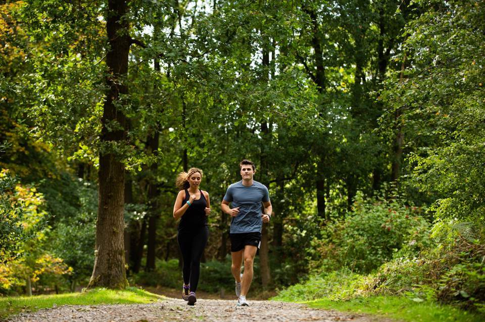 Woman and man in sports wear, out running in a forest.