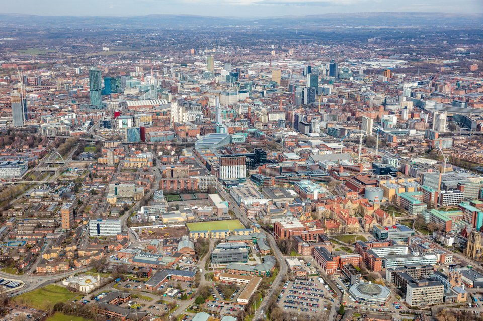Arial view of Manchester City Centre