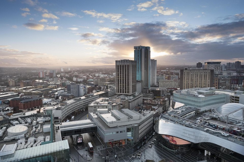 An aerial view of Birmingham city centre at dusk