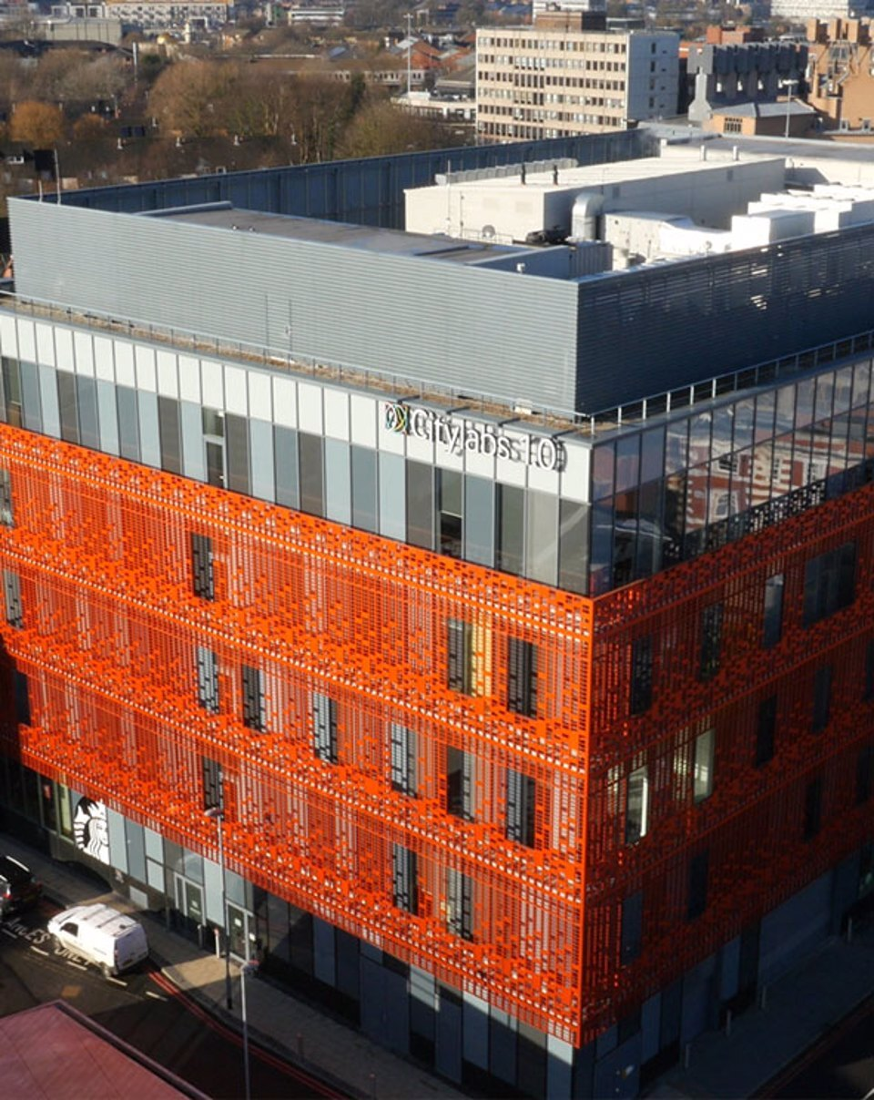 Exterior arial side-view of the CityLabs 1.0 building
