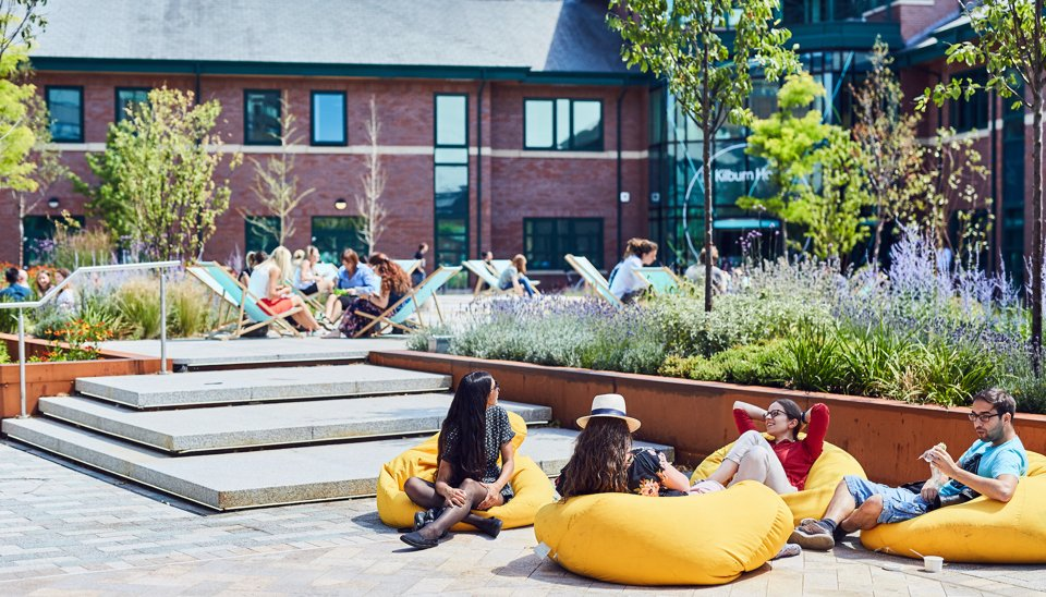 Outdoor seating at Manchester Science Park