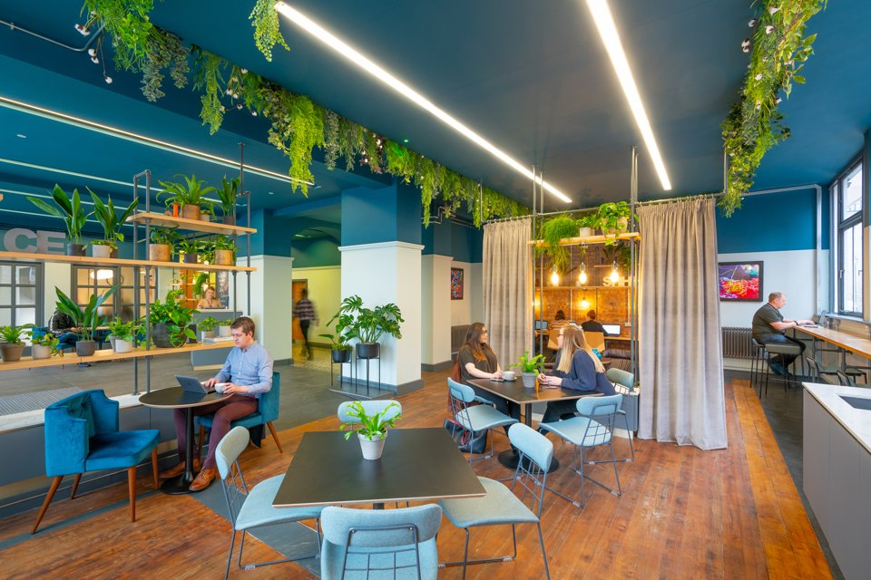 Large open social area inside the cotton exchange building white blue and white painted walls surrounded by greenary hanging fron the ceilling and people sat down socialising and drinking hot drinks