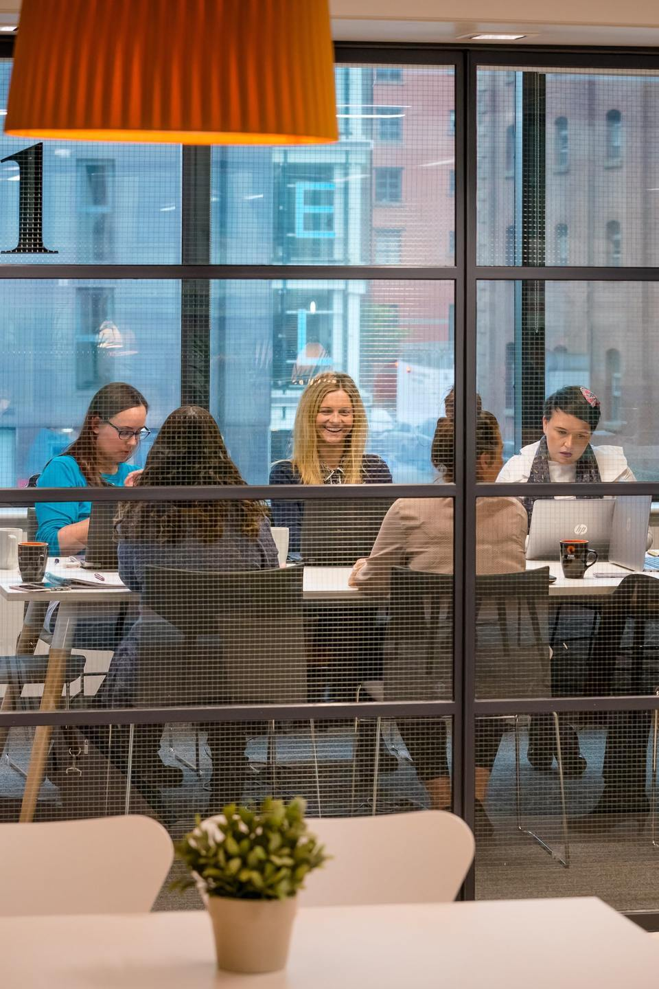 A group of people behind a mesh patterned office screen sat working together in a meeting room at 111 piccadilly